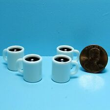 Dollhouse Miniature Set of 4 Coffee Mugs Filled in White ~ G8279M