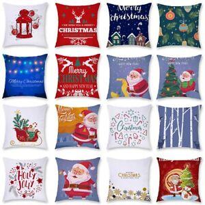 """18"""" Christmas Polyester Cushion Cover Pillow Case Xmas Home Sofa Throw Decor"""