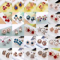 Women Fashion Jewelry Lady Elegant Rhinestone Crystal Flower Ear Stud Earrings
