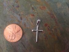 10 KT White Gold Cross Charm NEW Small Lightweight Shiny Plain Bail