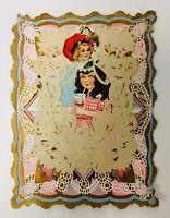 Antique Vintage Victorian Valentine Die Cut Embossed Paper Lace Card~roses~girls