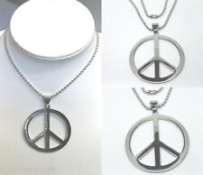 Brand New Mens Surgical Steel Peace Sign Pendant Long Chain Charm Necklace UK