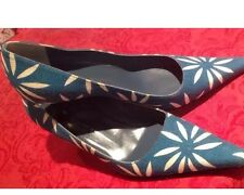 Giuseppe Zanotti 8.5 38.5 Shoe Teal Blue Canvs On Leather MIRROR Low HEELS MINT