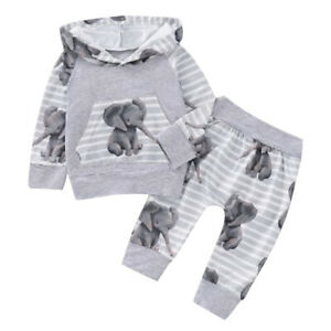 US Newborn Baby Boys Hooded Tops+Pants Tracksuit Trousers Outfits Clothes Sets