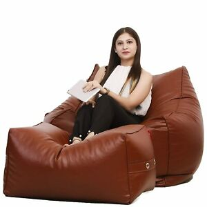 Luxuries Bean Bag Square Cover with Lounge Ottoman, XXXL Without Beans, Tan