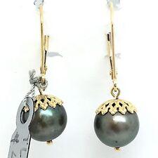 14K Yellow Gold Black South Sea Pearl Hoop Dangling Earring June Birthstone