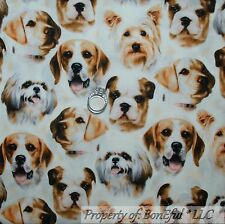BonEful Fabric FQ Cotton Quilt White Brown VTG Puppy Dog Little Breed Face Real