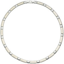 Collier Halskette Halsreif Edelstahl teil matt 47 cm Kette