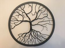 "Tree Of Life Sculpture 24"" Recycled Bicycle Wheel Black Hand Made"