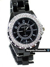ladies black designer-style fashion dress watch CZ ice out metal link bracelet