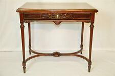 RARE EDWARDIAN NEO-CLASSICAL REVIVAL INLAID BRASS COPPER WALNUT LIBRARY TABLE