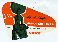 1950s Japan Airlines JAL  Luggage Label w/ Buddah