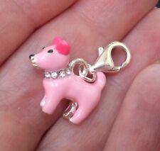 Pink bling pooch dog enamel clip on charm with rhinestone collar