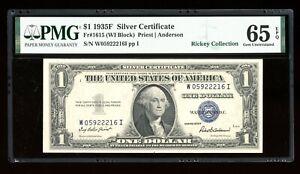 DBR $1 1935-F Silver Gem Fr. 1615 WI Block PMG 65 EPQ Serial W05922216I
