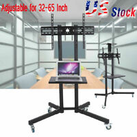 Adjustable Mobile TV Cart LCD LED Flat Panel Stand w/ Wheels fit for 32-65""