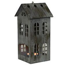 Teelichthalter Metall-Haus grau Höhe 20cm Windlicht Leuchter Kerzenhalter Advent