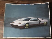 Early Work PAINT of a Car Designer 80's automobile LAMBORGHINI Etude Style 1982
