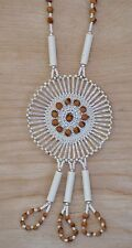 White Pendant Navajo Ghost/Cedar Beads Necklace Juniper Berry by L. Bitsoie