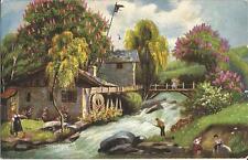 Angeln bei der Wassermühle, alte Ansichtskarte von 1912, Mühle-Fischen