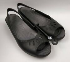 Crocs Women Mabyn Slingback Mini Wedge Heels Sandals Black Peep Toe Size 11