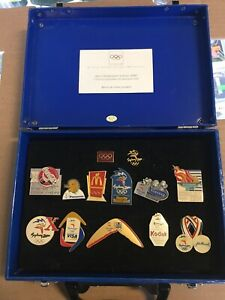 2000 Sydney Olympics Sponsorship Pin Collection In Display Case + 3 Additional