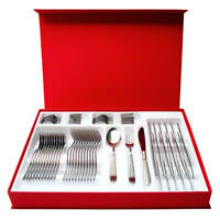 Flatware Set for 12, 48 Pieces Stainless Steel Novia Made in Italy
