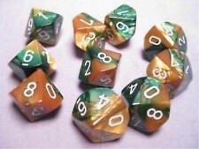 Chessex Dice Sets Gemini Gold & Green / White Ten Sided Die d10 Set 10 CHX 26225
