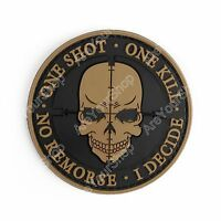 One Shot One Kill No Remorse I Decide Tactical Military Morale 3D Pvc Patch YEL.
