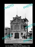 OLD LARGE HISTORIC PHOTO OF HAMILTON NSW, THE FIRE BRIGADE STATION JAMES St 1906