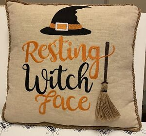 Pier 1 Imports Embroidered Braided Piping Resting Witch Face Halloween Pillow