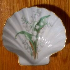 """Chamart Limoges France scalloped shell floral textured pearly dish gold trim 5"""""""