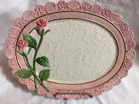 FITZ & FLOYD Victorian Postcards Omnibus PINK ROSE Scallop Oval Platter