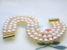 "AAA+ 7.5-8"" 3 strand 6-7mm natural south sea white pearl bracelet 14k Gold Clasp"