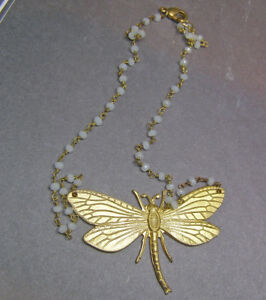 Vintage Art Nouveau Brass Dragonfly White Opal ine Rosary Bead Necklace