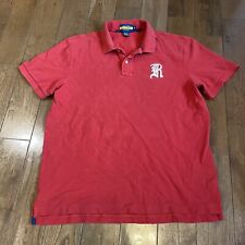 """New listing Mens RUGBY Ralph Lauren Polo Shirt Red White """"R"""" 100% Cotton Sz XL"""