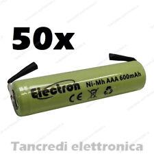 50 Pila Batteria Ministilo AAA 600mAh ricaricabile NiMh lamelle a saldare 500mAh