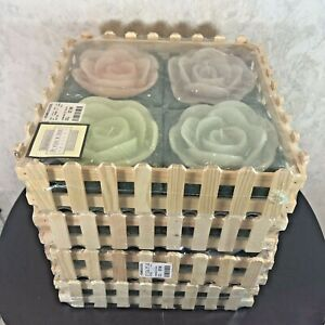 """16 Large Floating Candles Flowers Purple Blue Pink Green 5"""" Dia"""