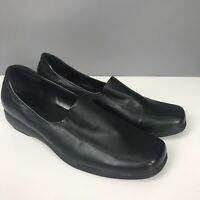Softlites Size 6 Black Low Wedge Sip On Comfort Shoes Square Toe
