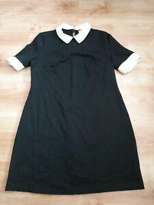 Ladies Wednesday Addams Fancy Dress Size 14 Halloween Goth Black White Collar