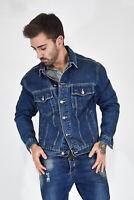 VINTAGE Giubbotto Cappotto Coat Jacket Di Jeans Blu TG M Man Uomo