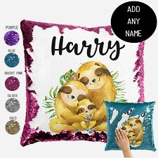 Sloth Sequin Cushion Cover  -  Personalised Cushion Cover Throw Pillow Gift
