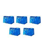 IKEA 5 x FRAKTA LARGE BLUE LAUNDRY BAG IDEALFOR SHOOPING, LAUNDRY, STORAGE 71 l