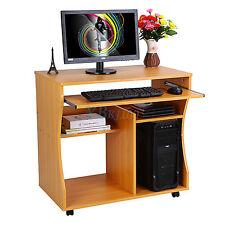 computer desk furniture wood table wheels keyboard shelf room college unit brown ebay. Black Bedroom Furniture Sets. Home Design Ideas