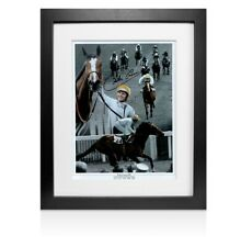 More details for framed willie carson signed photo - 5 times british champion jockey