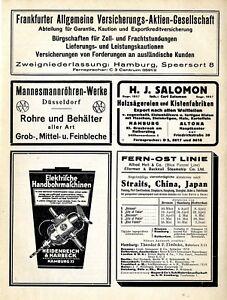 Mannesmann Düsseldorf Fern-Ost Linie China Japan Hamburg Frankfurt Versiche 1928