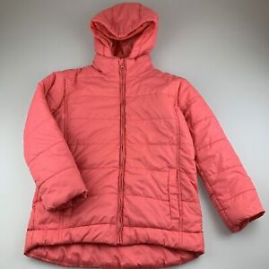 Girls size 9, Charlie & Me, coral hooded puffer jacket / coat, FUC