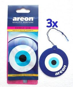 3 x Mon Areon Bubble Gum Blue Eye Car Air Fresheners Scent Talisman Amulet