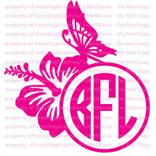 "Hibiscus Butterfly Monogram Custom 6"" Full Sized Vinyl Decal Initials"