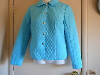 Women's Jacket Briggs NY Size 12 P Quilted Blue Polyester Petite