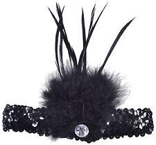 Charleston Kopfschmuck mit Federn + Pailletten schwarz 20er Jahre Fasching